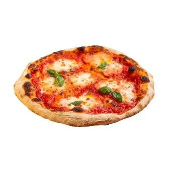 Pizza margherita isolata con mozzarella