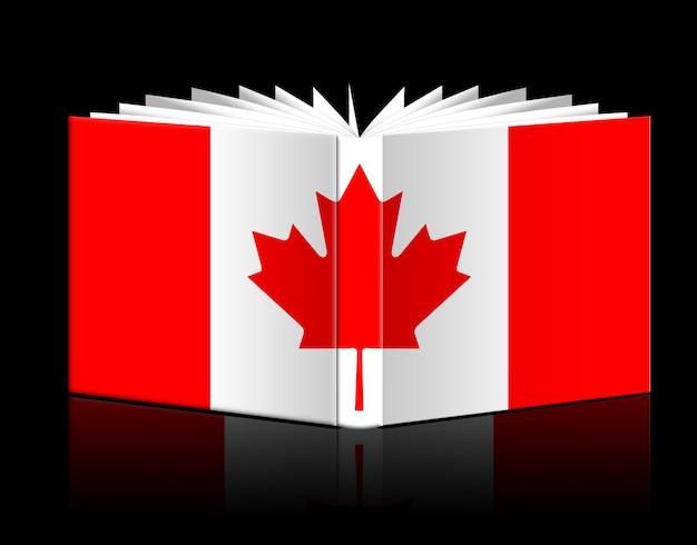 Libro aperto isolato raffigurante bandiera canadese