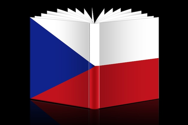 Libro aperto isolato raffigurante bandiera ceca