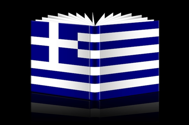 Libro aperto isolato raffigurante la bandiera della grecia