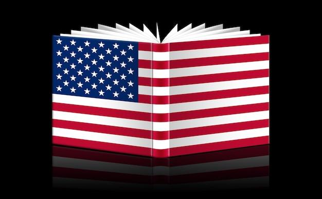 Libro aperto isolato raffigurante la bandiera degli stati uniti