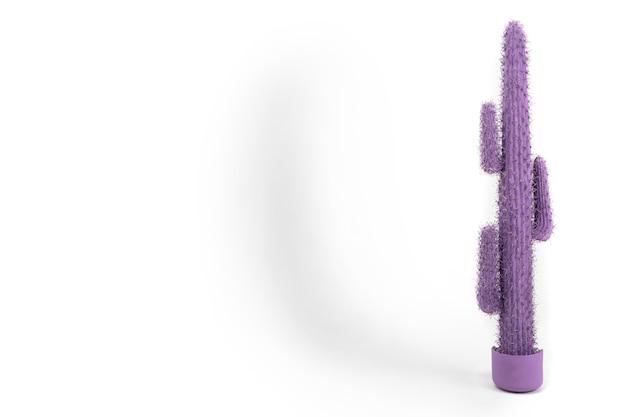 Cactus viola di plastica isolato in una pentola su un bianco