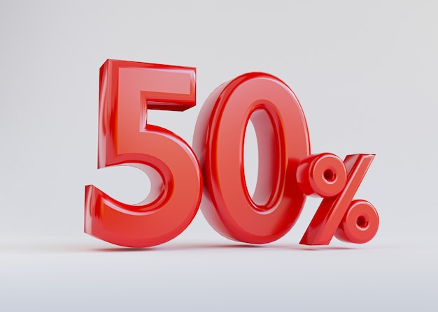 Isolato del cinquanta percento rosso o del 50 percento per l'offerta speciale del grande magazzino dello shopping e del concetto di sconto tramite rendering 3d.