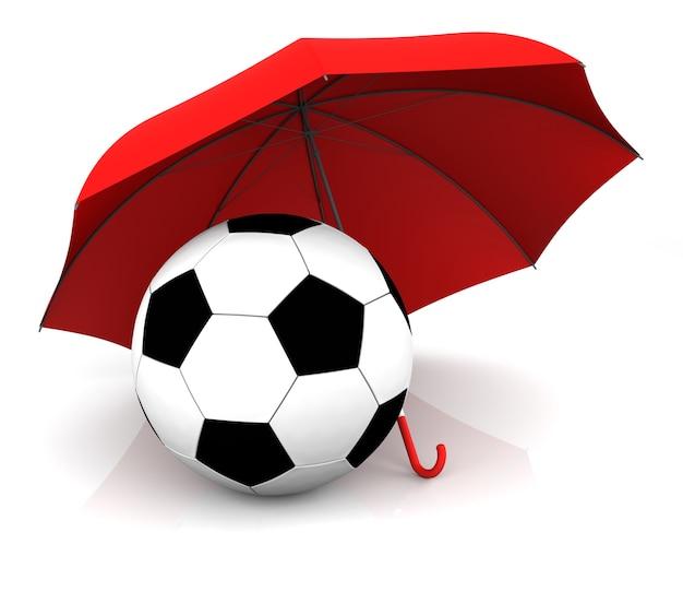 Pallone da calcio ed ombrello isolati. rendering 3d