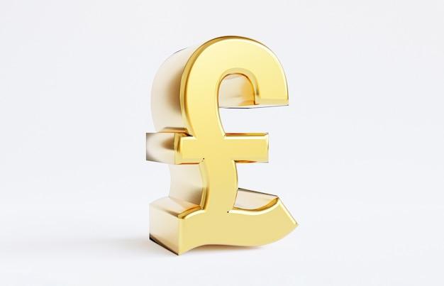 Isolamento del simbolo della sterlina d'oro su sfondo bianco, la sterlina è il regno unito e il principale cambio di valuta nel mondo mediante rendering 3d.