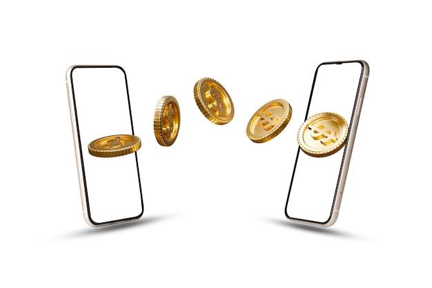 Isolamento delle monete del dollaro usa in movimento tra smartphone su sfondo bianco per il trasferimento di denaro e il concetto di tecnologia di mobile banking, idee creative con tecnica di rendering 3d.