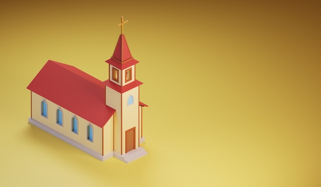 Isometrica edificio della chiesa con un campanile realizzato in stile cartone animato