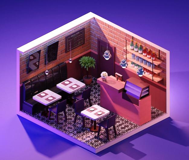 Concetto interno della caffetteria isometrica. illustrazione 3d