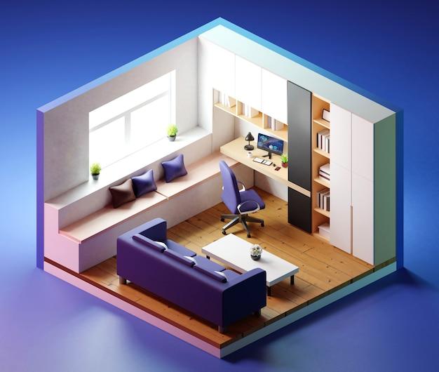 Ufficio domestico isometrico con mobili. illustrazione 3d