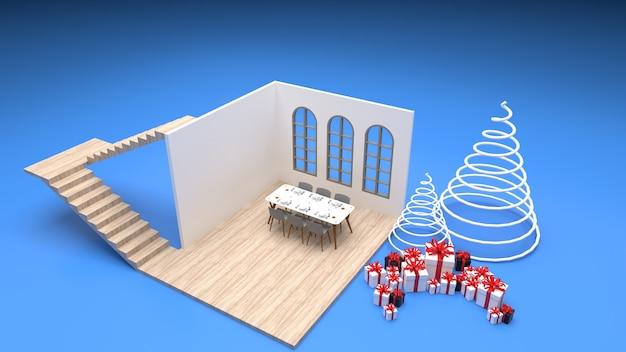 Interno isometrico del tavolo da pranzo in stile moderno della sala da pranzo vicino alla finestra