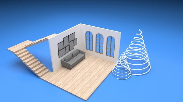 Soggiorno interno isometrico finestre arrotondate divano in stile moderno,