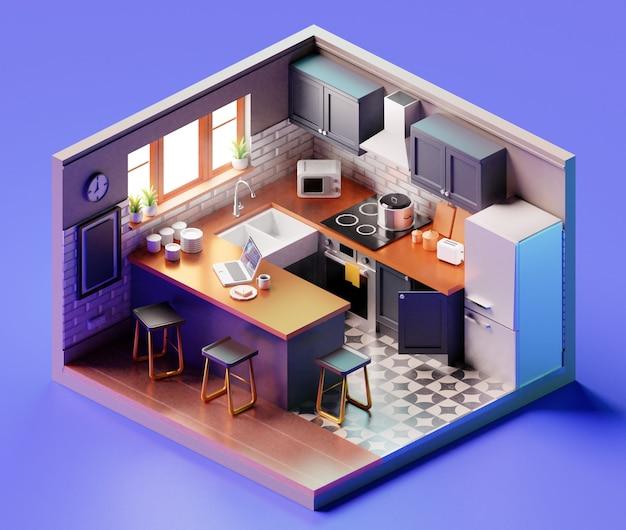 Composizione isometrica della cucina vista interna della sala da pranzo con stoviglie e mobili da cucina. illustrazione 3d