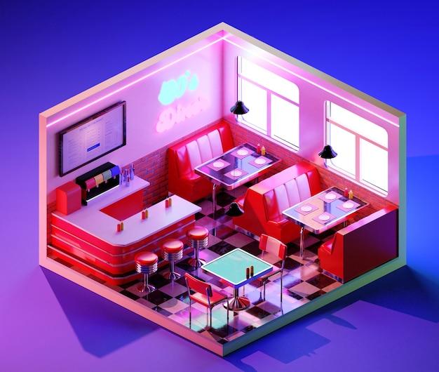 Concetto interno di cena retrò isometrica. illustrazione 3d