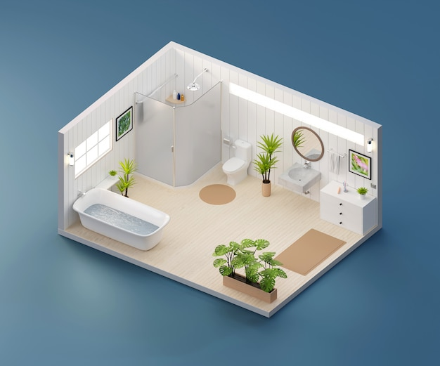 Vista isometrica bagno aperto all'interno di architettura d'interni, rendering 3d.