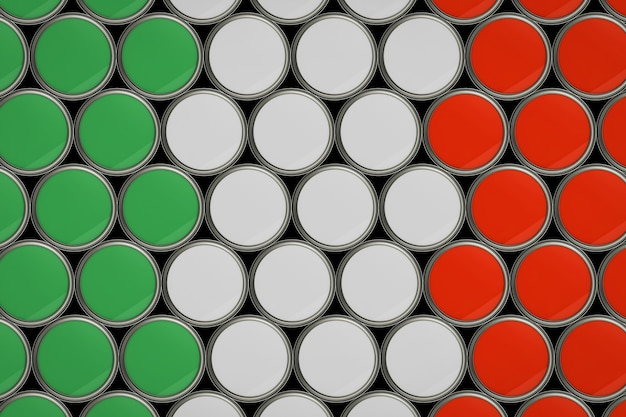 Fondo del modello della bandiera italiana in secchio di colore