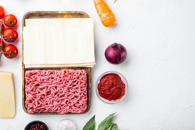 Cucina italiana ingredienti per la cottura degli alimenti con lasagne, parmigiano e set di condimenti