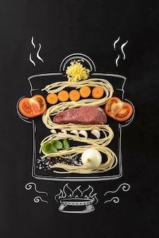 Cucina tradizionale italiana insieme di ingredienti per spaghetti alla bolognese e carne di noodle al pomodoro