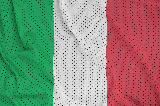 Bandiera dell'italia stampata su un tessuto a rete per abbigliamento sportivo in nylon poliestere Foto Premium