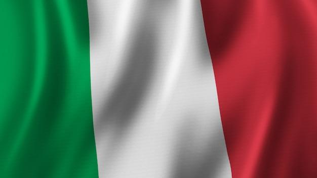 Rendering 3d del primo piano della bandiera dell'italia con immagine di alta qualità con struttura del tessuto