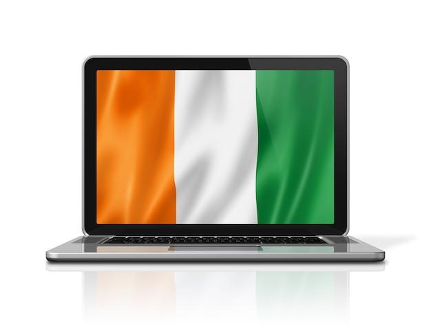 Bandiera della costa d'avorio sullo schermo del computer portatile isolato su bianco. rendering di illustrazione 3d.