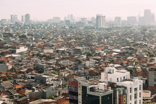 Jakarta cityscape con alto aumento