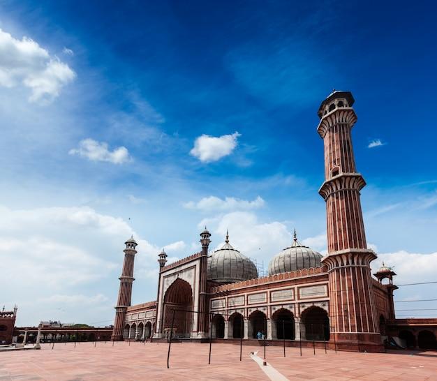 Jama masjid - la più grande moschea musulmana in india. delhi, india