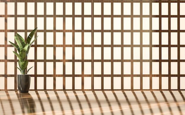 Camera in stile giapponese e pavimento in legno con sfondo chiaro del sole
