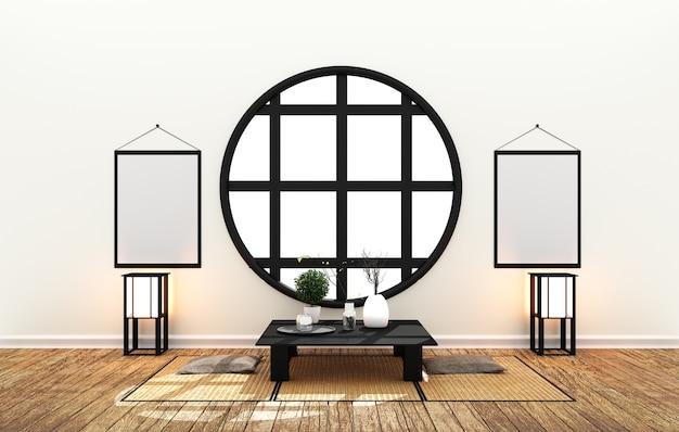 Interno della stanza giapponese - design minimale con pavimento in tatami stile giapponese. rendering 3d