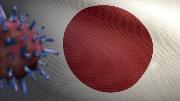Bandiera giapponese che sventola con l'epidemia di coronavirus che infetta il sistema respiratorio come influenza pericolosa. influenza di tipo covid 19 virus con bandiera nazionale giapponese che soffia sullo sfondo. concetto di rischio pandemico