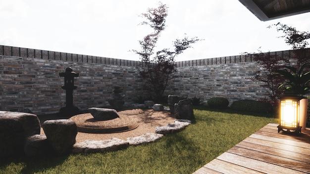 Stile giapponese del giardino giapponese di progettazione esteriore giapponese rappresentazione 3d