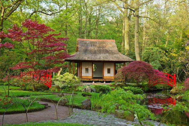 Vista tipica del giardino giapponese, den haag, olanda