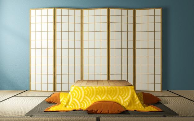 Design giapponese in carta divisoria in legno e tavolino kotatsu sul pavimento tatami in soggiorno con menta.
