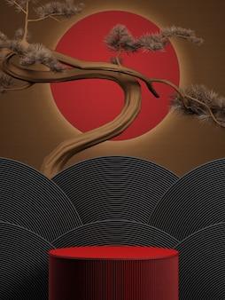 Pino giapponese e podio con sfondo rosso cerchio per la presentazione del prodottorendering 3d