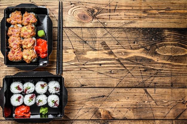 Cibo del ristorante giapponese da asporto, scatola di consegna impostata