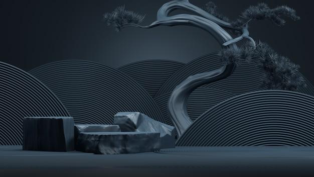 Podio astratto in stile giapponese e albero dei bonsai con sfondo blu. rendering 3d. illustrazione.