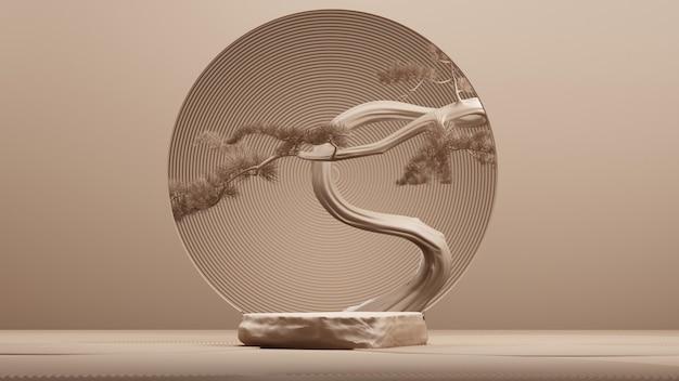 Podio astratto in stile giapponese e albero dei bonsai con sfondo marrone. rendering 3d. illustrazione.