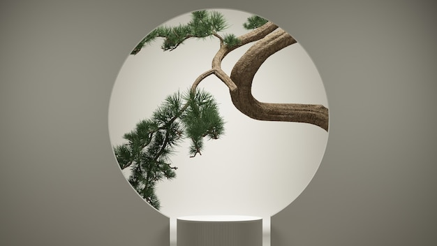 Podio astratto in stile giapponese e albero dei bonsai con sfondo bianco. rendering 3d. illustrazione.