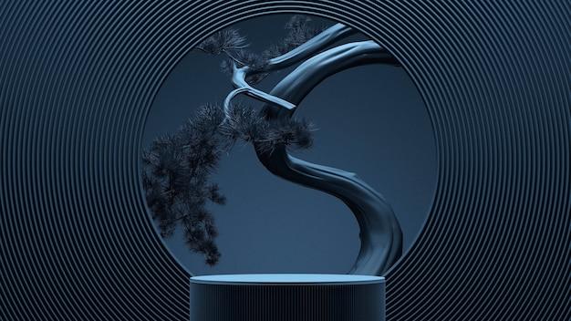 Sfondo astratto minimale in stile giapponese. podio e albero dei bonsai con sfondo blu per la presentazione del prodotto. illustrazione della rappresentazione 3d.