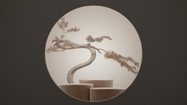 Fondo astratto minimo di stile giapponese. podio e albero dei bonsai con fondo marrone per la presentazione del prodotto. illustrazione della rappresentazione 3d.