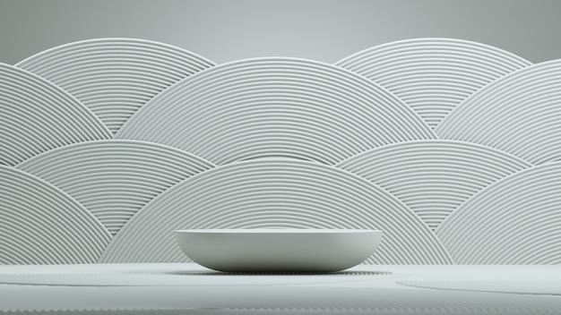 Sfondo astratto minimale in stile giapponese. podio e cerchio astratto con sfondo bianco per la presentazione del prodotto. illustrazione della rappresentazione 3d.