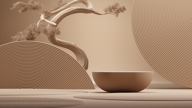 Podio in stile giapponese e bonsai con sfondo marrone per la presentazione del prodotto 3d rendering
