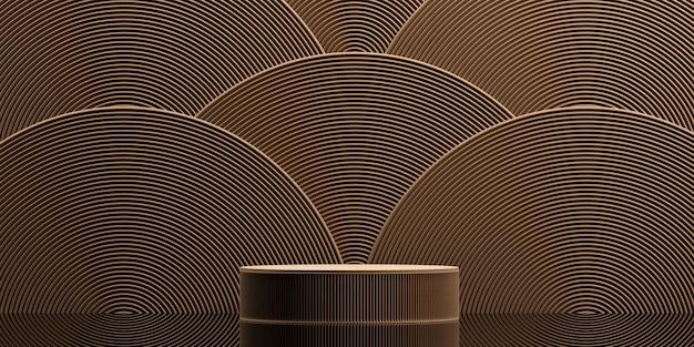 Podio in stile giapponese con sfondo marrone semicircolare per la presentazione del prodottorendering 3d