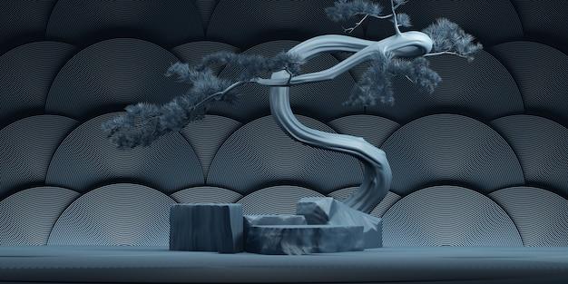 Podio in pietra in stile giapponese e albero bonsai con sfondo blu scuro per la presentazione 3d rendering