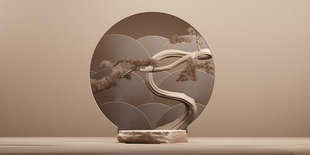 Podio in pietra in stile giapponese e albero dei bonsai con sfondo marrone per il rendering 3d di presentazione