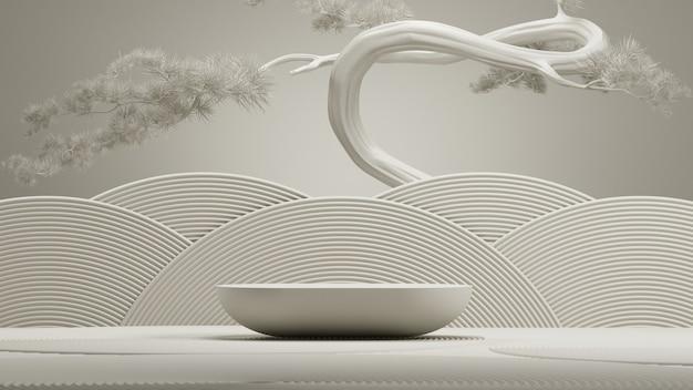 Podio in pietra in stile giapponese e albero bonsai con sfondo bianco per il rendering 3d di presentazione