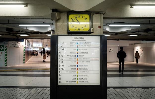Schermo di visualizzazione del sistema di treni della metropolitana giapponese per informazioni sui passeggeri