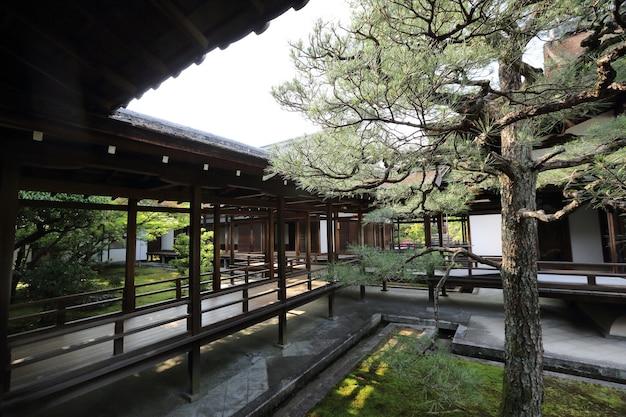 Tempio giapponese con cancello rosso giapponese e foglie di acero verde a kyoto in giappone