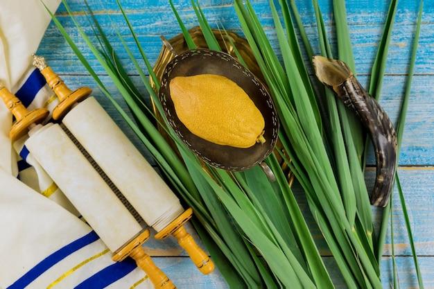 Simboli tradizionali del festival ebraico di sukkot con quattro specie etrog lulav hadas arava