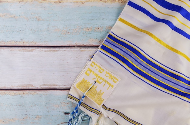 Festa ebraica tallit, simbolo religioso di preghiera dello shabbat