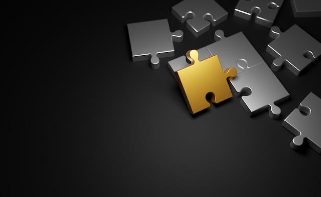 Jigsaw puzzle su sfondo nero con copia spazio 3d rendering